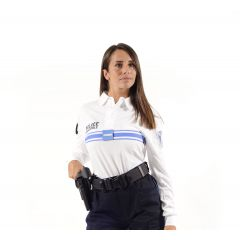 POLO BLANC POLICE MUNICIPALE DRY-TEC® MANCHES LONGUES