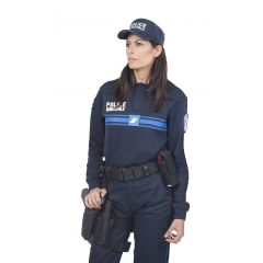 POLO BLEU POLICE MUNICIPALE MANCHES LONGUES MAILLE DSW