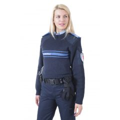 PULL COL ROND POLICE MUNICIPALE MAILLE ADMINISTRATIVE LOURDE